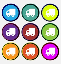 Delivery truck icon sign nine multi-colored round vector
