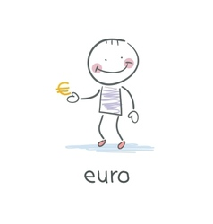 Man holding euro sign vector