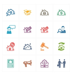 Real estate icons - colored series vector