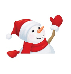Snowman waving vector