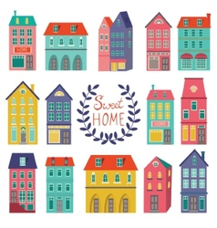 Colorful houses collection vector