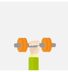 Hand holding dumbell sport fitness healthy vector