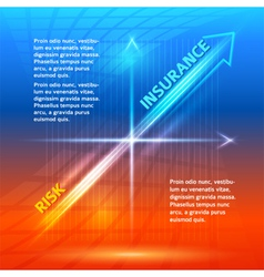 Concept insurance risk hot orange blue background vector