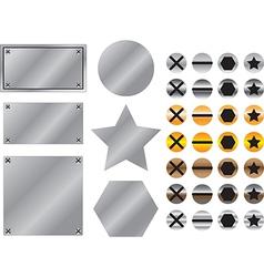 Metal background with screws vector