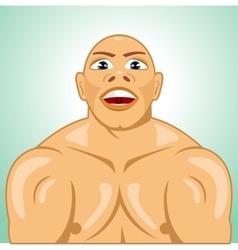 Bald bodybuilder straining muscles vector