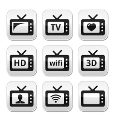 Tv set 3d hd buttons vector