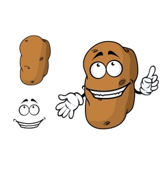 Happy goofy cartoon potato character vector