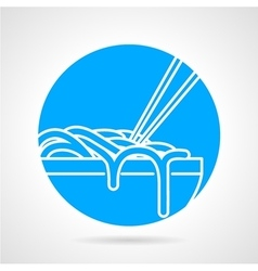 Noodles bowl blue round icon vector