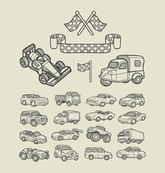 Car icons sketch vector