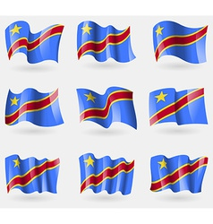 Set of congo democratic republic flags in the air vector
