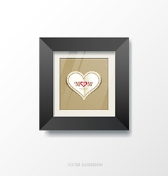 Black frame and heart paper vector