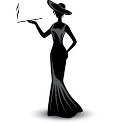 Retro silhouette elegant smoking woman vector