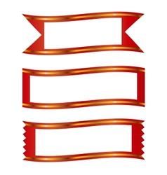 Ribbons with gold stripe banner frame set vector