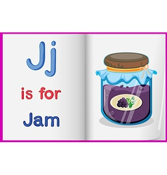 A picture of a bottle of jam in a book vector