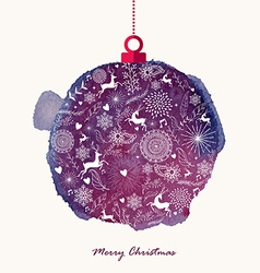 Christmas retro bauble watercolor greeting card vector