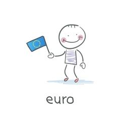 Man holding euro flag vector