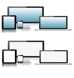 Flat computer laptop tablet phone devices vector