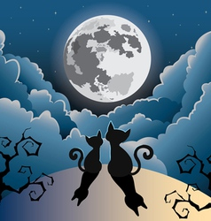 Two cute kitty cat under the full moon vector
