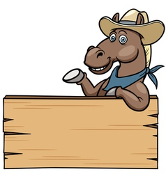 Horse with wooden sign vector