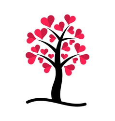 Tree with red hearts vector