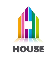 Logo striped colorful house vector