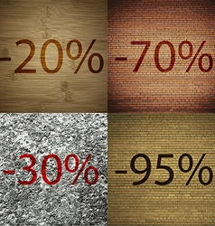 70 30 95 icon set of percent discount on abstract vector