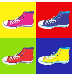 Teenager sneakers background vector