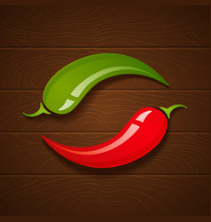 Chili on wooden background vector