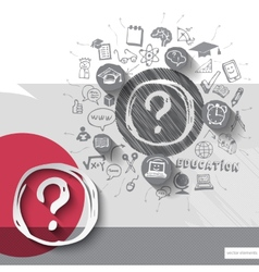 Paper and hand drawn question mark emblem with vector