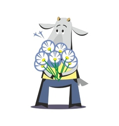Goat with bouquet of flowers 03 vector