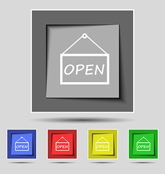 Open icon sign on the original five colored vector