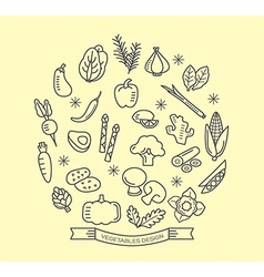 Vegetable line icons with outline style design vector