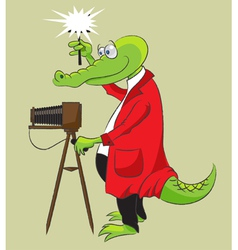 Crocodile photographer vector