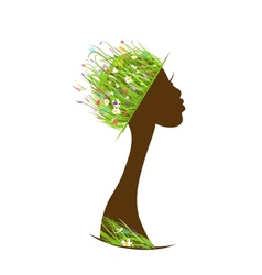 Organic hair care concept female head with hat vector