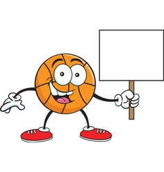 Cartoon basketball holding a sign vector
