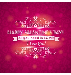 Pink valentines day greeting card with hearts vector