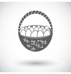 Basket of eggs single icon vector
