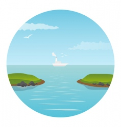 Ship in the ocean vector