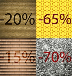 65 15 70 icon set of percent discount on abstract vector
