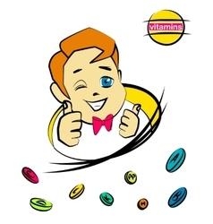Cartoon nice boy with vitamin pills vector