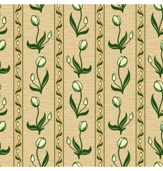 Tulip line seamless background pattern vector