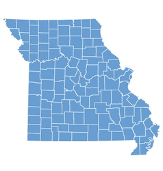 State map of missouri by counties vector