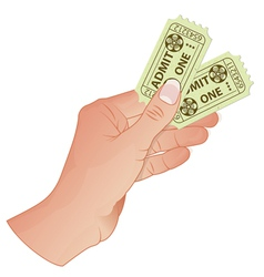 Hand with cinema tickets vector