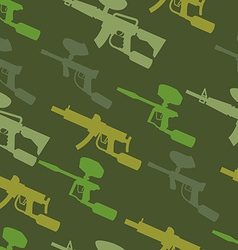 Paintball guns silhouette seamless pattern vector