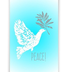 Ink hand drawn dove with olive branch vector