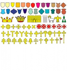 Elements of the heraldic emblem vector