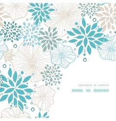 Blue and gray plants corner decor pattern vector