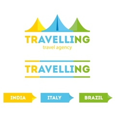 Modern bright flat travel company tent logo with vector
