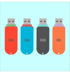 Set of flash drive in flat style vector