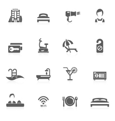 Hotel icon black vector